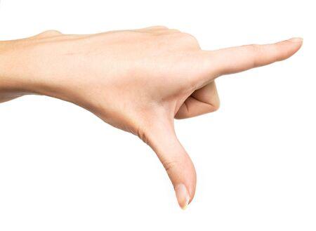 decreasing in size: La mano mostrando le grandi dimensioni. Isolamento su uno sfondo bianco