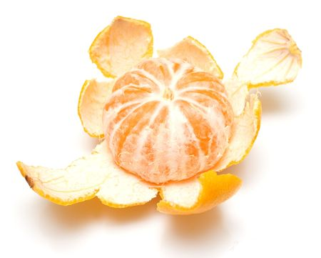sweet segments: The opened tangerine on white. A seductive photo for gourmets. Stock Photo