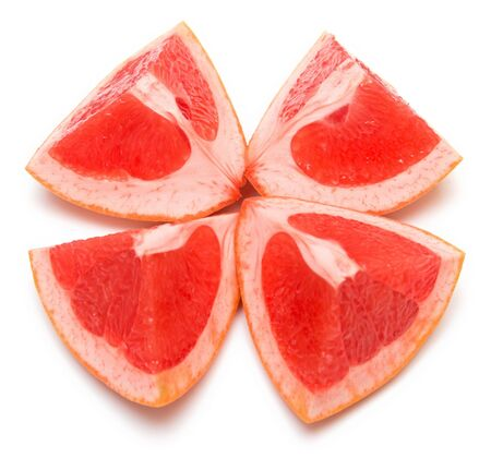 Fresh grapefruit on white. Isolation, shallow DOF. Stock Photo