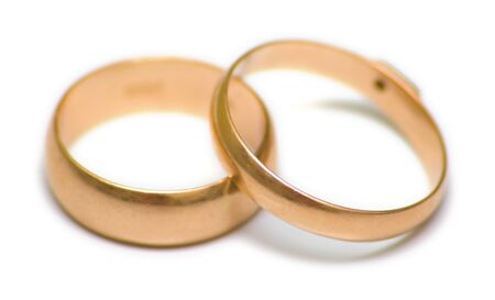attribute: Pair wedding rings on white. The traditional attribute symbolizing registration of new family