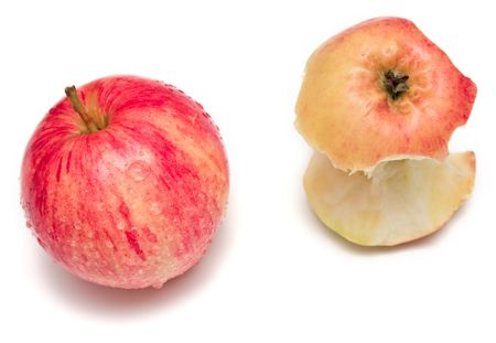 leavings: whole apple and bit on the white
