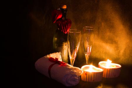 romantic date: Romantic Valentine day, vine, candle spa setting, romantic date Stock Photo