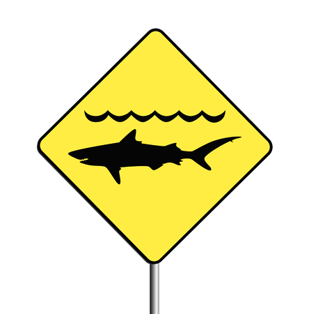 Vector of a warning, sharks sign. Zipfile contains v.8, ai and jpg. Stock Vector - 5498381