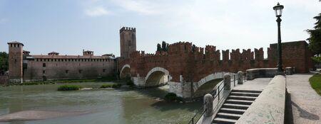 Scaligero bridge and Castelvecchio in Verona, Italy photo