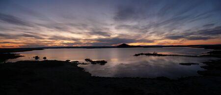 Sunset over tranquil Lake Myvatn, northern Iceland. Stock Photo - 6933705