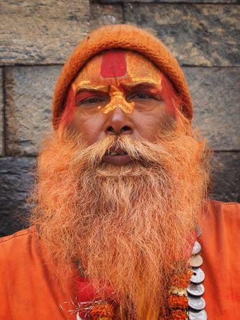 Painted sadhu in Kathmandu, Nepal.