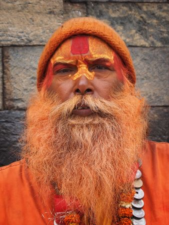 cultural and ethnic clothing: Painted sadhu in Kathmandu, Nepal.
