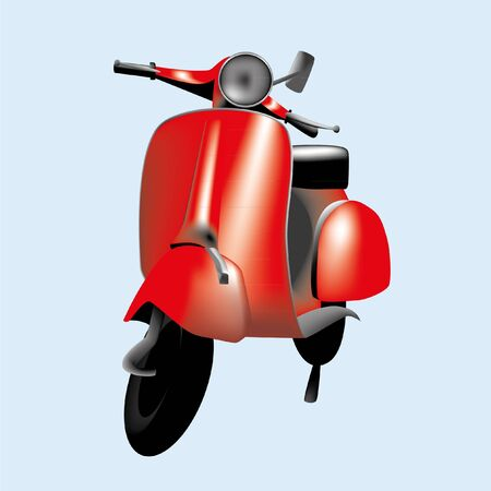 Vector illustration of a red scooter in eps v8 format.