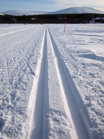 lapland: Cross-country tracks on a frozen lake in Lapland.