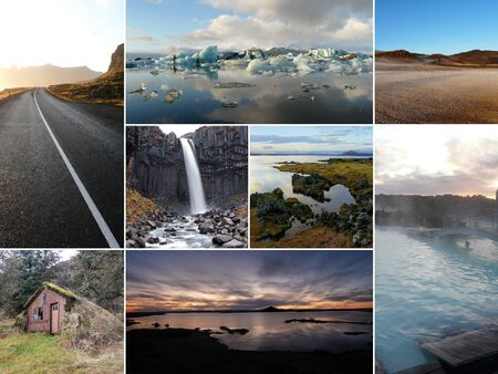 multiple images: A collage of multiple images from Iceland, Europe.