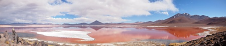 high desert: Panorama of the Red Lagoon, or Laguna Colorada, on the Altiplano near Uyuni inside Eduardo Avaroa National Reserve in Bolivia at 4300 m above sea level.  The red color of the water is caused by sediments and algae. The white part is borax salt. Stock Photo