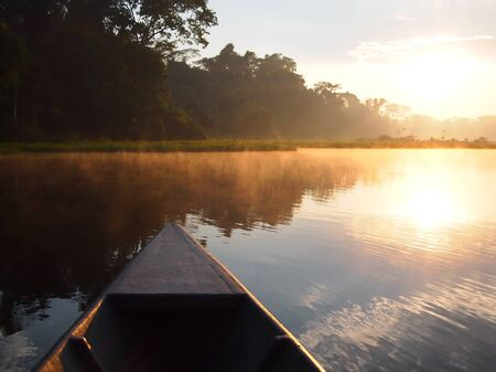 navigating: Navigating the Tambopata river by boat during sunrise in the Amazon rainforest in Peru.