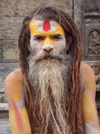Famous painted sadhu in Kathmandu, Nepal. Editorial