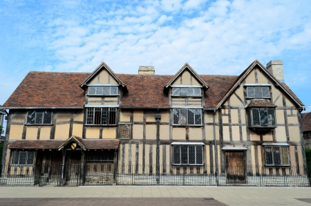 timbered: The timbered house in Stratford-upon-Avon which is believed to be the birthplace of William Shakespeare