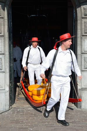 edam: Two men carrying cheese on the famous cheese market in Alkmaar in the Netherlands