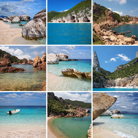 multiple images: A collage of multiple images of the beaches of Sardinia, an island in Italy