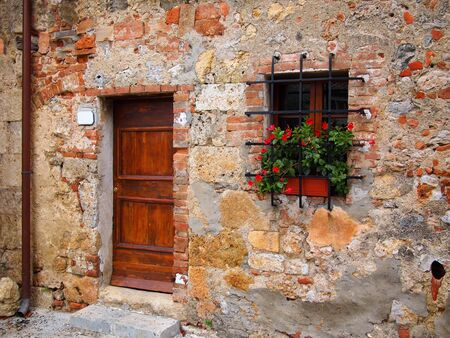 italian village: Old wooden door in a brick facade with flowers of a house in an old Italian town
