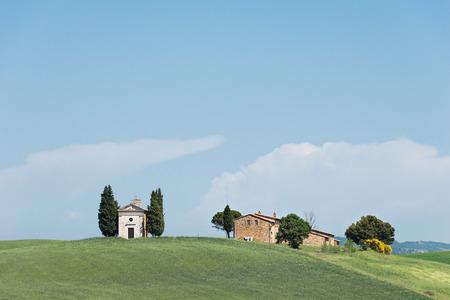 cappella: Cappella della iglesia Madonna di Vitaleta de cipreses y una granja en un campo en el Valle de Orcia, en Toscana, Italia.