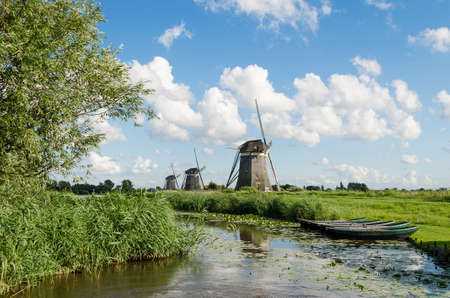 rowboats: Landscape in Holland with three windmills and a canal with reeds and rowboats.