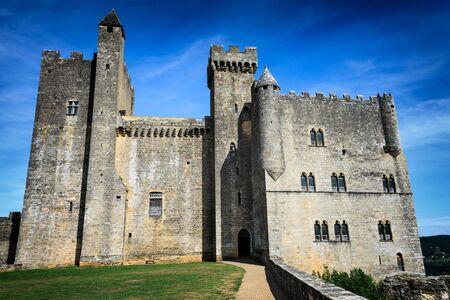 impressive: Medieval architecture of impressive Chateau de Beynac castle, built on the cliffs high above Dordogne river in Beynac-et-Cazenac, Perigord, France. Editorial