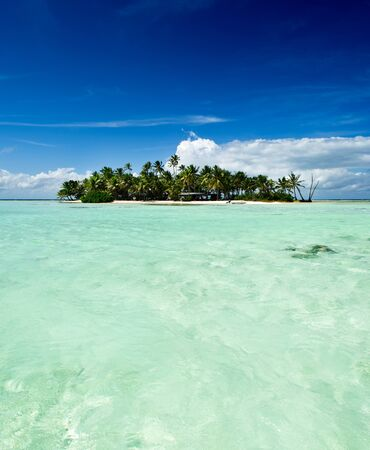 desert island: Tropical uninhabited or desert island with only a beach and palm trees in the famous Blue Lagoon inside Rangiroa atoll, an island of the Bora Bora archipelago French Polynesia in the Pacific Ocean. Stock Photo