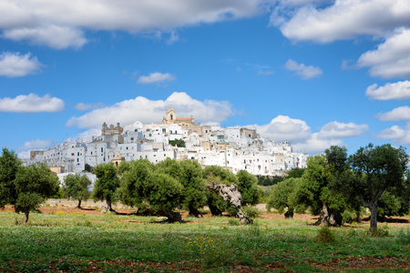 Landscape in Puglia, Italy, with the white city (citta bianca) Ostuni on a hill above an olive tree orchard under a cloudy sky. Stock Photo