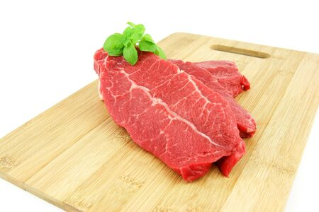 animal vein: Raw piece of beef on a white background  Stock Photo