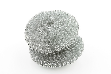 Two steel scourers together on a white background  Banco de Imagens
