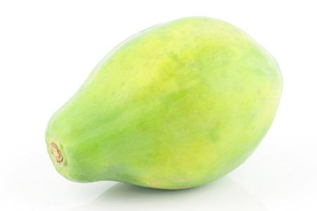 papaw: A fresh ripe Papaya  Carica papaya   On a white background  Stock Photo