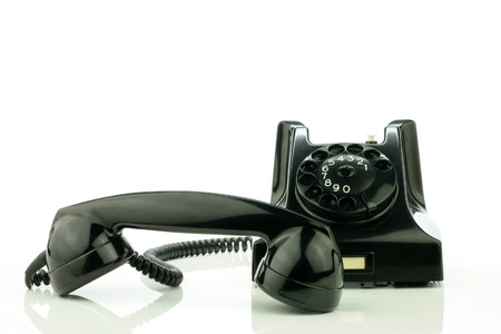 bakelite: Old retro bakelite telephone  On a white background