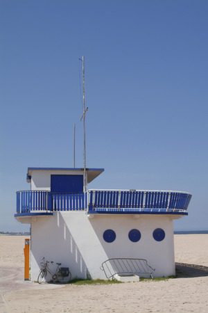 rescue station on the beach ouistreham in Normandy also called sword beach.