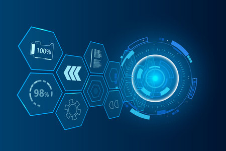 Vector abstract hexagon futuristic interface , digital speed technology. Illustration