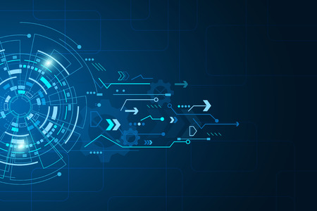 Futuristic technology abstract template , innovative virtual user interfaces , HUD , arrow speed, background vector Иллюстрация