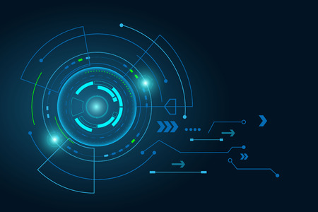 Futuristic technology abstract template , innovative virtual user interfaces , HUD , arrow speed, background vector. Illustration