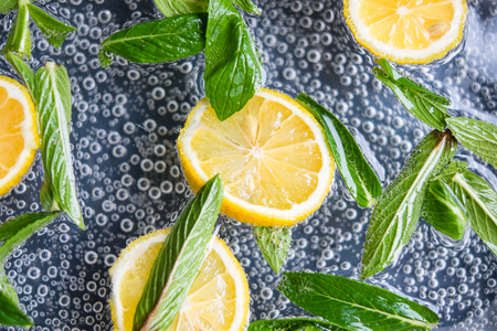 Lemon and mint in water