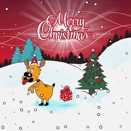 snow tires: Christmas reindeer illustration. Illustration