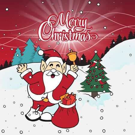 Santa Claus with a bag and bell in Christmas forest Santa Claus smiling and keep hands up near christmas tree.