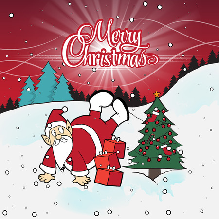Santa Claus standing head over feet isolated on beautiful Christmas background.