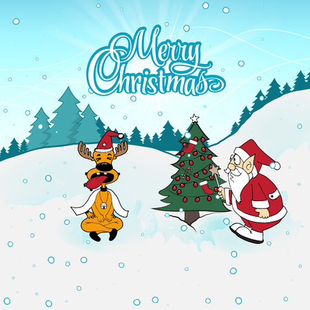 Santa Claus with Silly deer with tongue sticking out. Reindeer sitting close his eyes and sticking out tongue next to Santa. Christmas illustration. Santa and Deer. Funny Santa and Reindeer Illustration