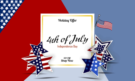 parade: American Independence Day design. A template background for greeting cards, posters, leaflets and brochure. Vector lettering illustration EPS10 Illustration