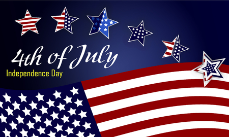 American Independence Day design. A template background for greeting cards, posters, leaflets and brochure. Vector lettering illustration EPS10 Illustration