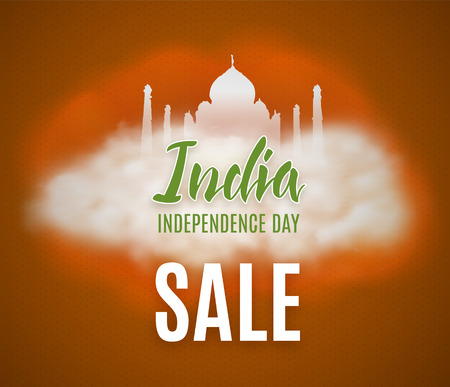 A Vector background for Indian independence day. Background of stylized flag of India and contain images of Indian palace and cloud.