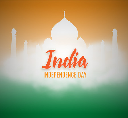 Happy Independence day India, Vector illustration, Flyer design for 15th August with cloud and indian temple. Stock Illustration - 81286365