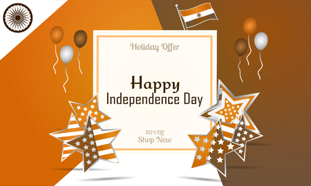 26: Creative Indian National Flag colours vector background with Ashoka Wheel, Elegant Poster, Banner or Flyer design for 15th August, Happy Independence Day celebration.