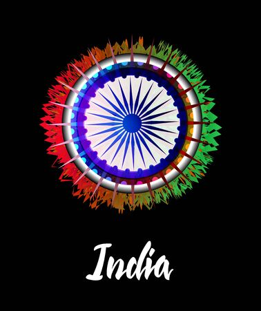 Illustration of Happy Indian Independence day poster or banner background.
