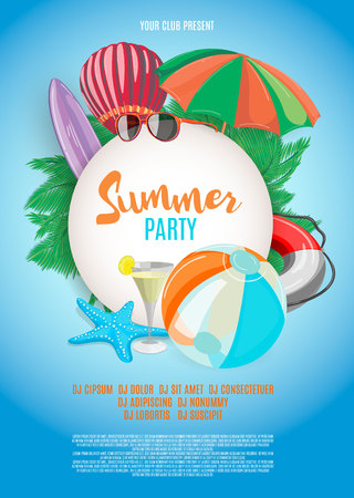 Summer vector banner design template in beach theme with summer elements and balloon in blue sky background. Vector illustration.