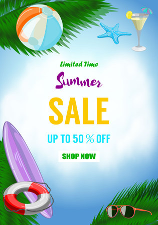 Summer sale vector banner design for promotion with colorful beach elements. Vector illustration Illustration