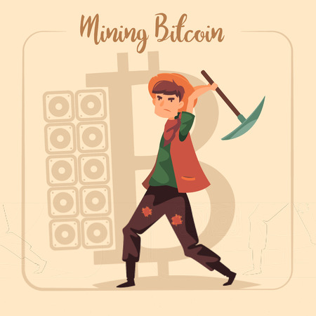 Bitcoin mining concept with young man of gold rush times with pick. Vector flat illustration.