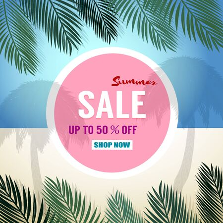 abstract flowers: Summer sale background with palm. Vector background for banner, poster, flyer, card, postcard, cover, brochure