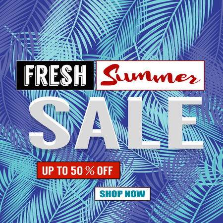 huge tree: Summer sale background with palm. Vector background for banner, poster, flyer, card, postcard, cover, brochure.